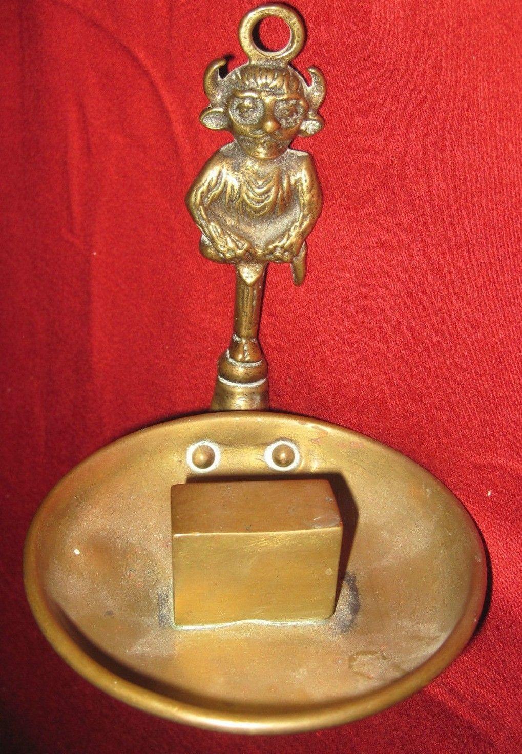 Antique Old Brass Lincoln Imp Devil Hanging Vesta Matchbox Holder