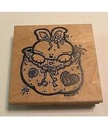"Judikins Rabbit in Bag 4138 H Wood Mounted Rubber Stamp - 4""X 4"" Easter ... - $9.99"