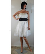 NWT BETSEY JOHNSON Cream Tulle Sequin Dress w/ Black Bow Sz 6 (MAKE AN O... - $186.22