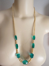 Vintage Art Deco Nouveau Aqua Crystal Faux Pearl Necklace - $45.00