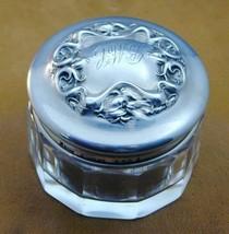 Antique Sterling Repousse Lid Glass Dresser Jar Hallmarked - $49.99