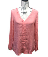 Le Chateau Women V Neck Roll-up Sleeve Blouse Coral M - $20.62