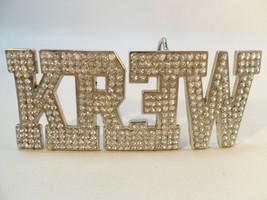 KREW Belt Buckle Clear Rhinestones Silver Tone Metal Skateboard Men's Fa... - $13.33