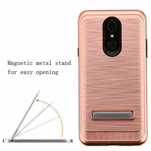Rose Gold Brushed Carbon Fiber Accent Hybrid Cover for LG Stylo 4 Plus/Stylo 4