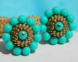 Vintage Wired Bead Earring Turquoise Round Cluster Gold Clip - $19.95