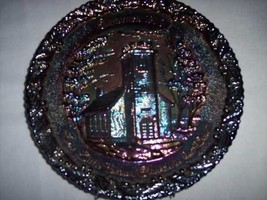 * Fenton Satin Christmas Plate Little Brown Church Vale 70s Vintage - $23.56