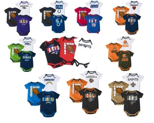 NFL Infant Boy's 3-Point Spread Bodysuit Set of 3 Football Baby Creeper Licensed