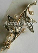 Victorian 0.52ct Rose Cut Diamond Pearl Cute Wedding Brooch/Pin Halloween - $555.42
