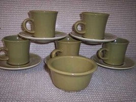 Franciscan Green Olive 1 Sugar Bowl 6 Cups & 6 Saucers - $30.20