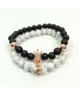 B0044 Black White Stone Beads Rhinestones Crown Design Stretchable Brace... - $9.99