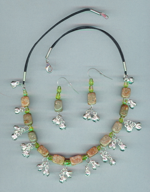 Belly Dance Necklace set, Beaded with Bells, #9Sc3-11, Free
