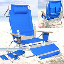 Beach Chair Deluxe Lounge Reclining Pool Patio Deck Folding Chaise Foot ... - $127.68
