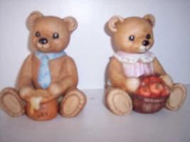 * Homco Porcelain Teddy Bear Basket of Apples Honey set of - $16.77