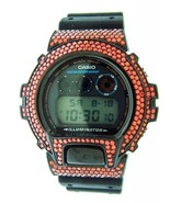 Casio G Shock Black Stainless Steel Red Full Case Cz Crystal Dw6900 Blac... - $351.95