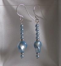 Swarovski Pearl Dangle Sterling Silver Earrings 3 Blue - $18.25