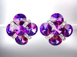 EXQUISITE Fuchsia Purple Swarovski Crystals Bridal Prom Pageant Queen CL... - $25.99
