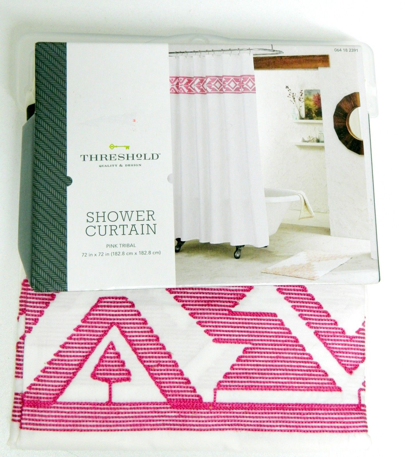 """New Threshold Shower Curtain White Pink Tribal White Embroidered Target 72""""x72"""""""