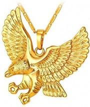 U7 Brave Man Hawk Necklace 18K Gold Plated Eagle Pendant Necklaces - $32.91