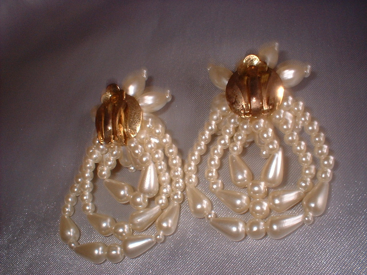 Vintage Jewelry  Imitation Pearl Clip Earrings 2 Pair
