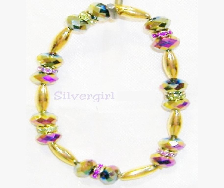 CZ Rainbow Crystal Bead GP Collar Stretch Bracelet