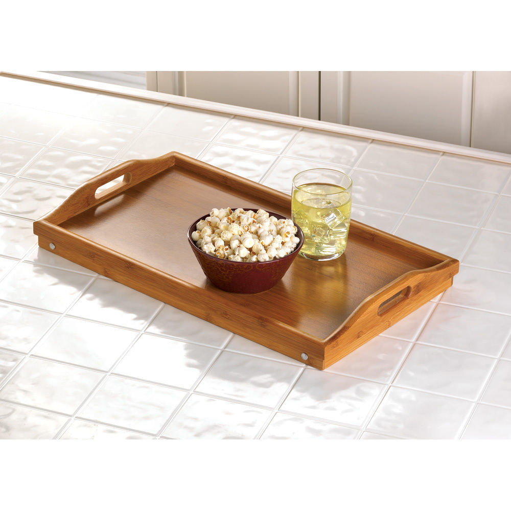 Set of 6 - Folding Bamboo Serving Tray Breakfast in Bed