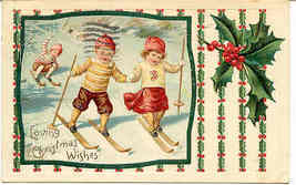 Loving Christmas  Wishes Vintage 1913 German Post Card - $7.00