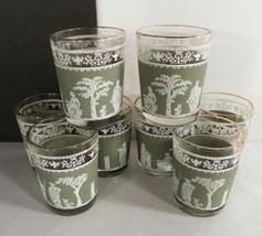 Jeannette HELLENIC Shot Glass Tumbler (s) LOT OF 8 Grecian Green Satin Barware - $18.76