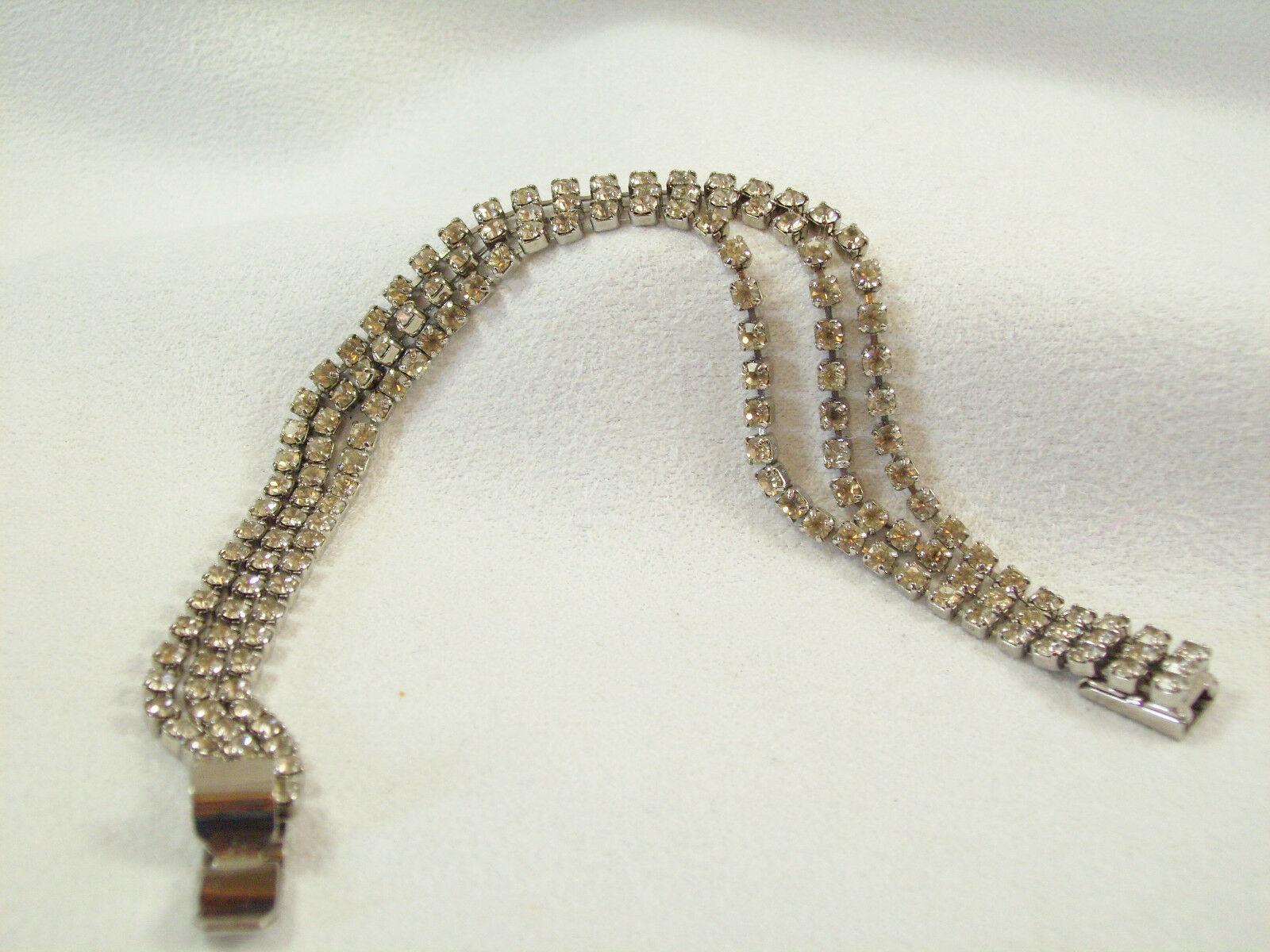 Vintage Rhinestone Bracelet 3 Strands Prong Set Silver Plated Tennis Estate