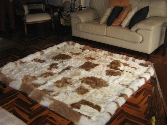 Baby alpaca fur carpet, natural braun white spots, 80 x 60 cm/ 2'62 x 1'97 ft