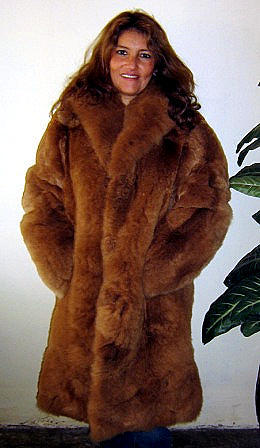 Women's light brown fur coat made of Baby alpaca, X-small