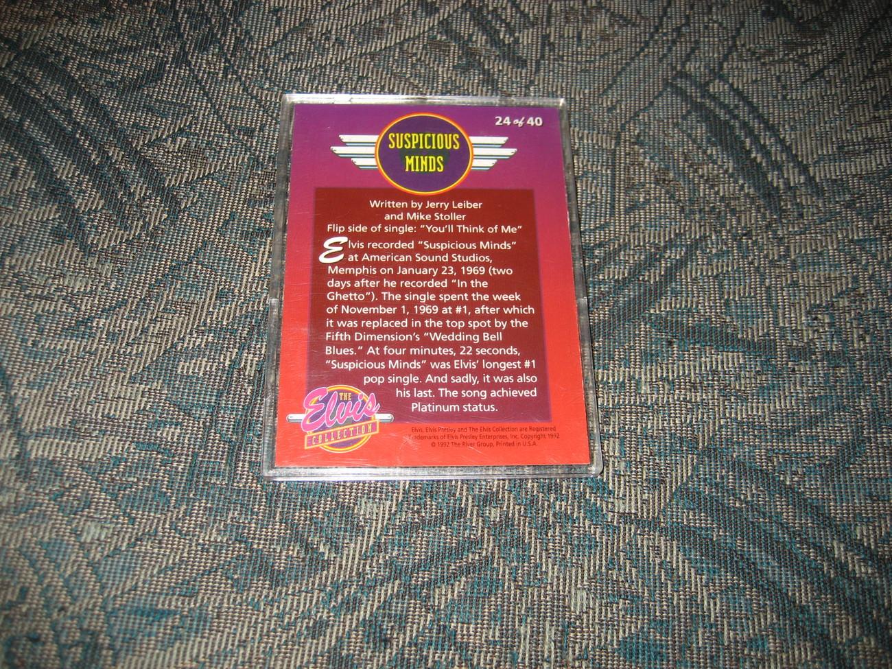 Elvis Dufex Bonus Foil Card-- 24/40-- Suspicious Minds