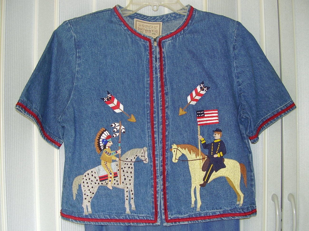 'Double D Ranch Wear' Beaded & Embroidered Denim Jacket