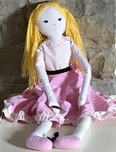 """Pottery Barn Kids Cloth Blonde Muslin Linen Designer Doll 27"""" Pink Dress  - $47.49"""