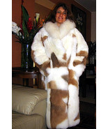 Long coat made of baby alpaca fur with white and brown spots, 2X - Small - $1,248.00