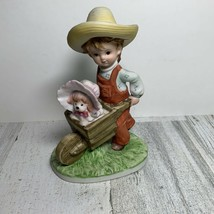 Lefton China Figurine Boy w/ Dog In Cart KW7537 Made in Japan Statue - $14.85