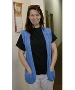 aran/fisherman vest with pockets and mother of ... - $55.00