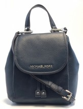 NEW WOMEN'S MICHAEL KORS RILEY NAVY LEATHER SMALL FLAP PACK CROSSBODY HA... - $109.00