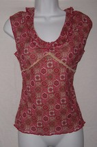 Xhilaration Shirt Red Pnk Floral Print Sleeveless Pullover Top Womens Size L - $4.99