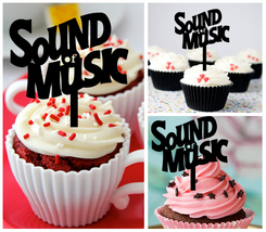Wedding,Birthday cupcake toppers,silhouette sound of music Package 10 pcs - $10.00