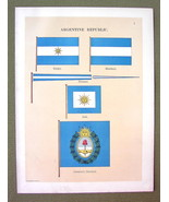 FLAGS Argentina President's Standard Jack Ensign - 1899 Color Litho Print - $16.20