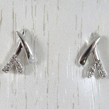 WHITE GOLD EARRINGS 750 18K LOBE, BRANCH AND FLOWER, WITH ZIRCON, LONG 1 CM image 1