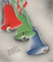 Vintage Christmas Card Colorful Bells Noel 1940's Red Green Blue - $7.91