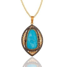 Pave Diamond Natural Turquoise Birthstone Jewelry Gold Plated Silver Pen... - $161.37