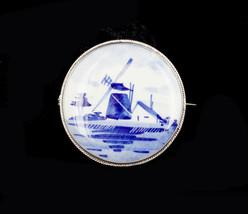 Antique Sterling Silver Han Painted Dutch Blue White Porcelain Farm Hous... - $53.99