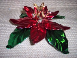* Poinsettia Taper Metal Candle Holder NEW - $22.87