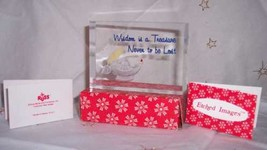 """RUSS Etched Images Glass Block Acrylic """"Wisdom is a Treasure"""" New - $12.67"""