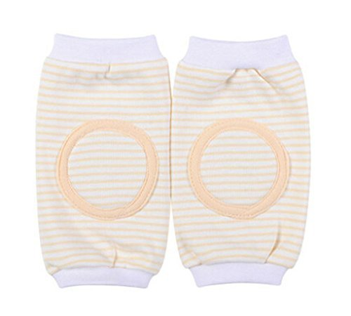 1 Pairs Pure Cotton Stripe Crawling Baby Knee Pads Protector YELLOW