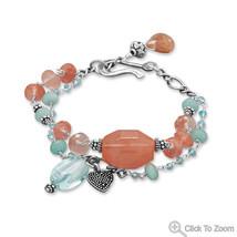 Strawberry Quartz, Blue Jade and Apatite Bead Chain Bracelet - $124.99 CAD