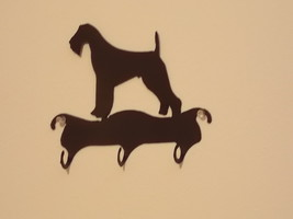 AIREDALE 3 HOOK  LEASH or KEY HOLDER WROUGHT IRON - $12.95