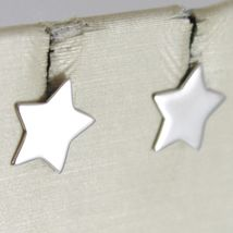 Earrings Gold Yellow or White 750 18k, Stella, Flat Stars, Length 0.9 cm image 3